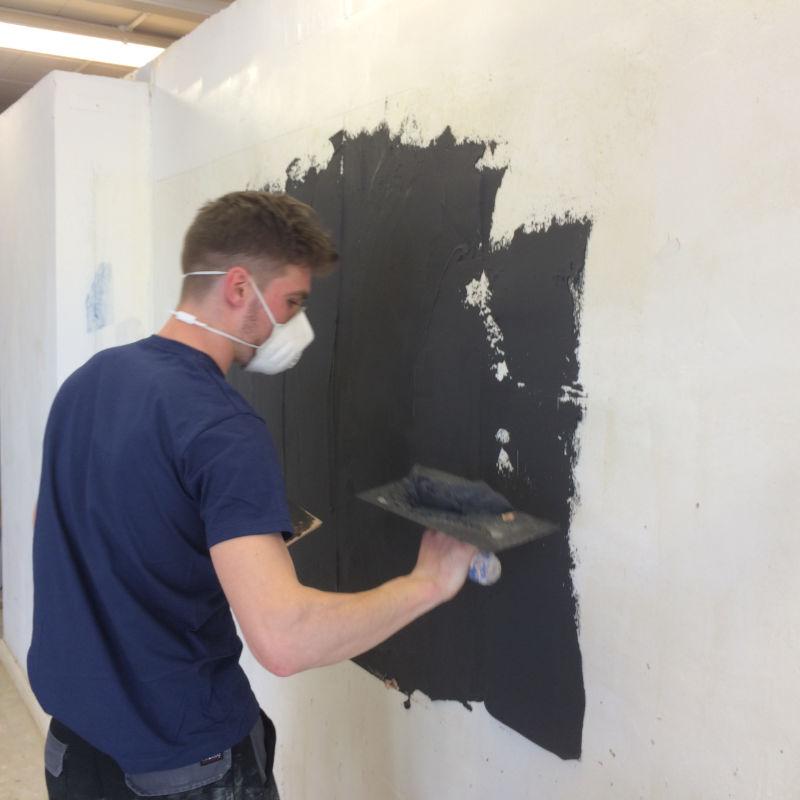Billy applying magnetic plaster
